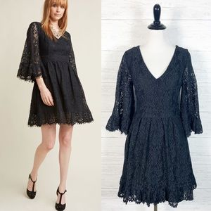 ModCloth • Black Bell Sleeve Lace Dress M